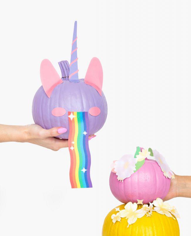citrouille licorne violette diy halloween snapchat