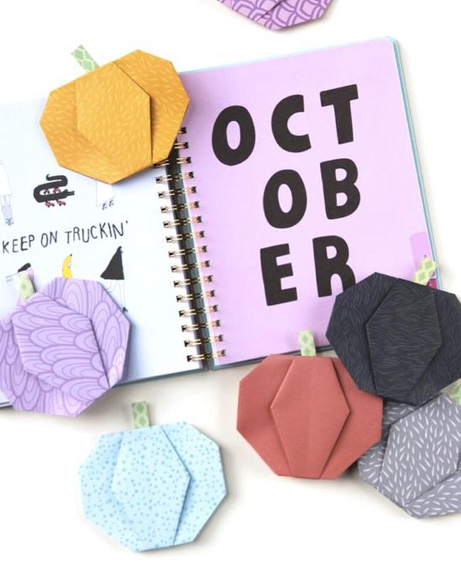 citrouille origami halloween papier coloré
