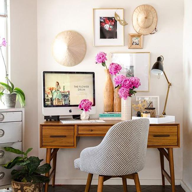 deco bureau scandinave vintage fleur