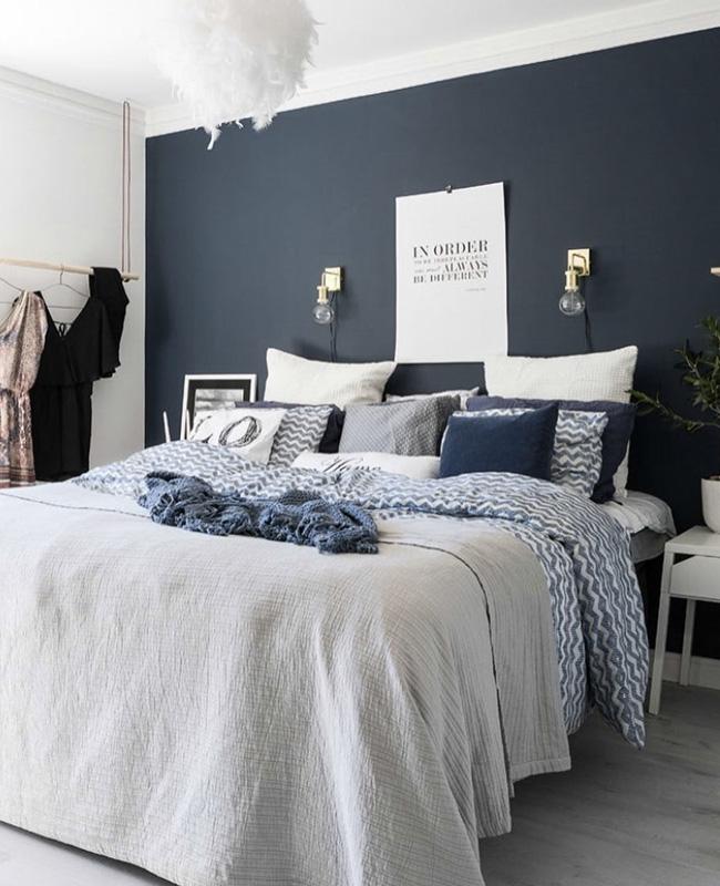 deco chambre adulte bleu nuit blanc gris