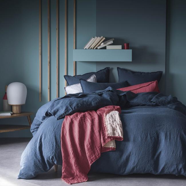deco chambre adulte bleu nuit linge de lit
