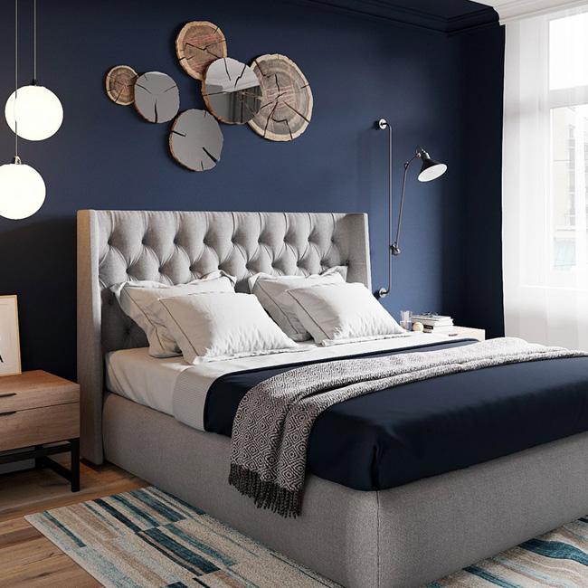 deco chambre adulte bleu nuit mur
