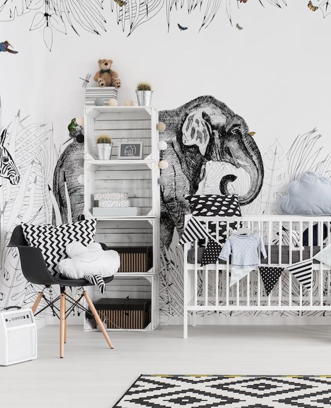 deco chambre bébé animaux jungle moderne noir blanc