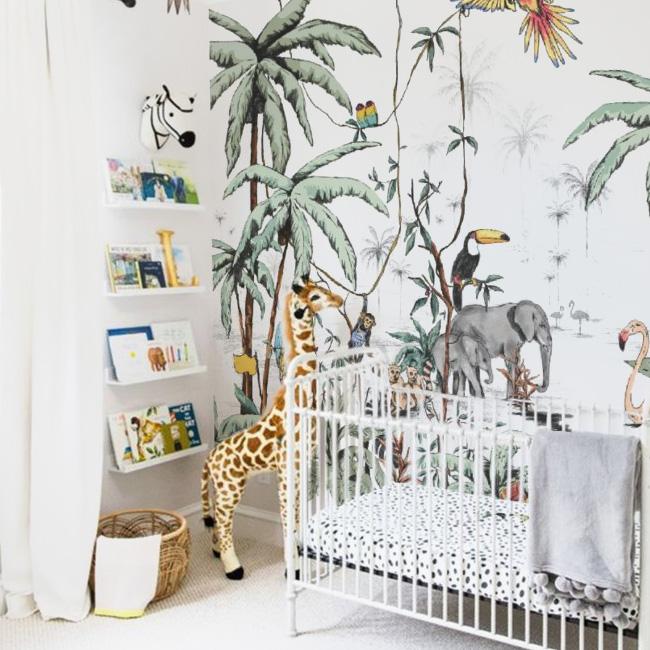 deco chambre bébé animaux jungle papier peint coloré