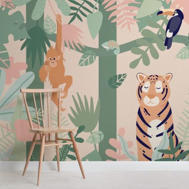deco chambre bébé animaux jungle papier peint
