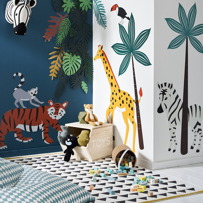deco chambre bébé animaux jungle stickers