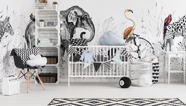 deco chambre bébé animaux jungle