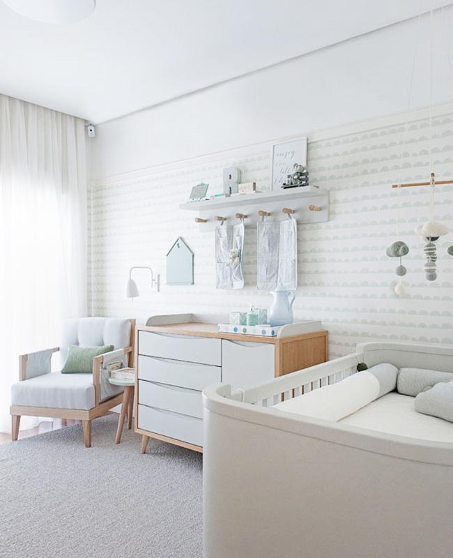 deco chambre bébé papier peint accessoire vert menthe