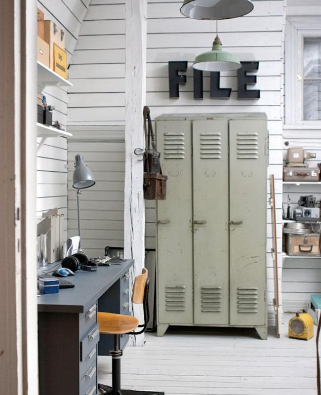 deco chambre ado industriel armoire métal