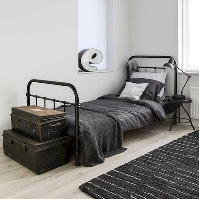 deco chambre ado industriel minimaliste noir blanc