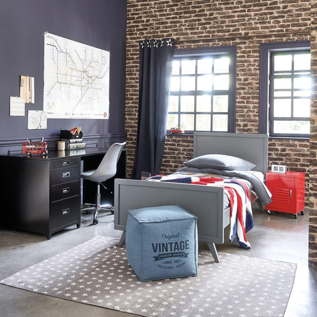 deco chambre ado industriel mur gris brique