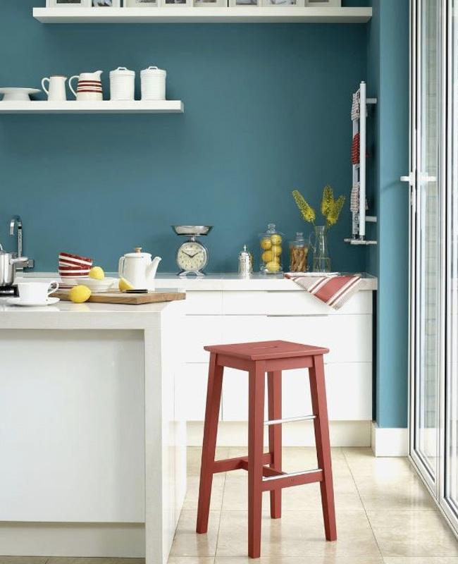 deco cuisine rouge blanc bleu
