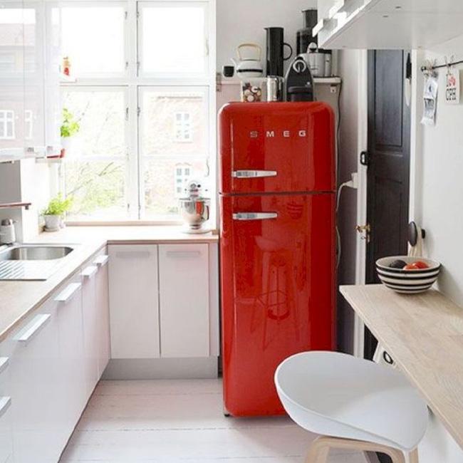 deco cuisine rouge blanc frigo vintage