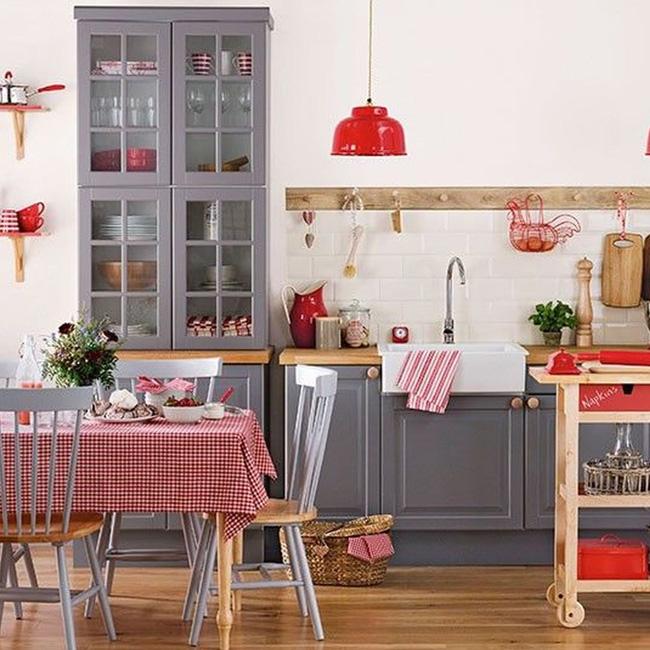 deco cuisine rouge blanc meubles gris