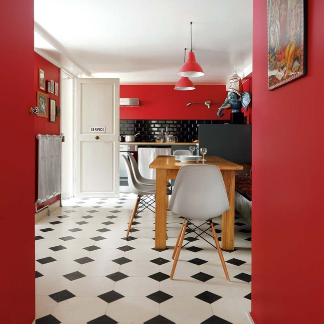deco cuisine rouge blanc murs peints