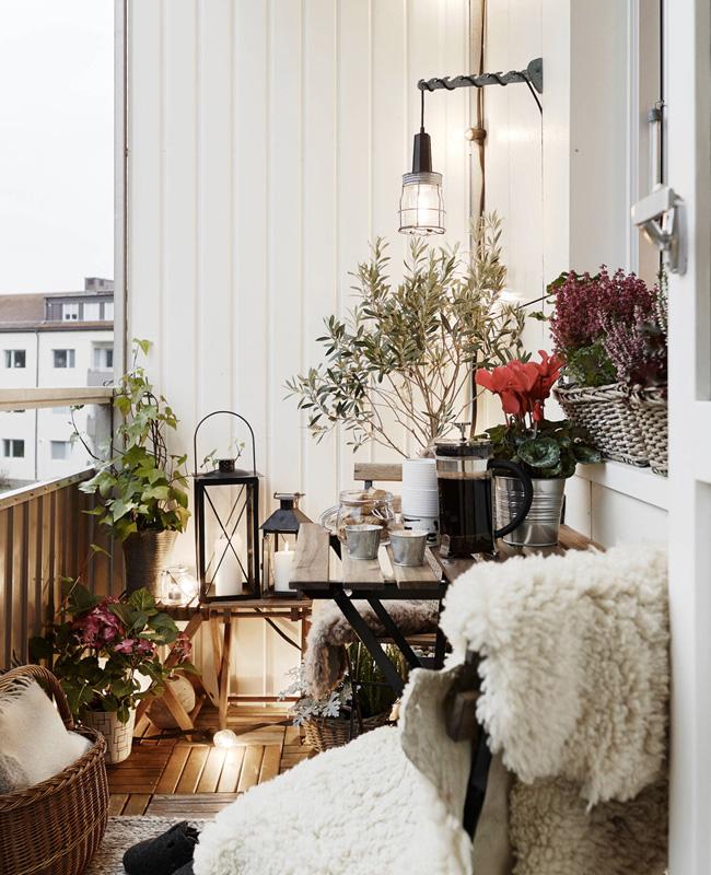 deco petit balcon hiver chaleureux