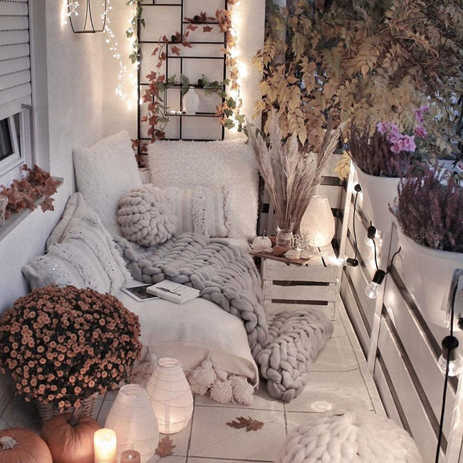 deco petit balcon hiver grosse maille xxl