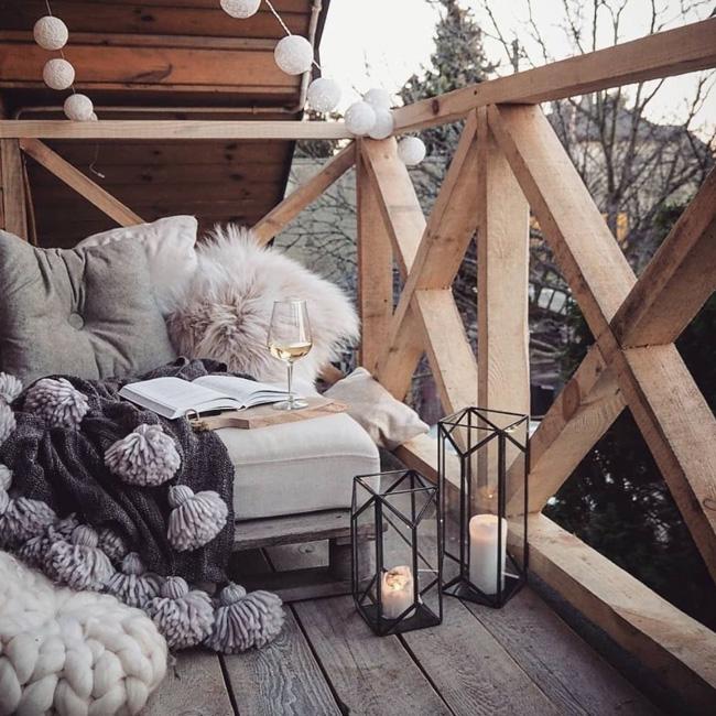 deco petit balcon hiver nordique