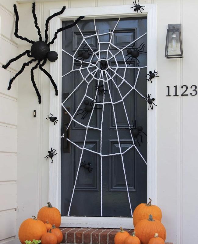 deco porte halloween pinterest toile araignée