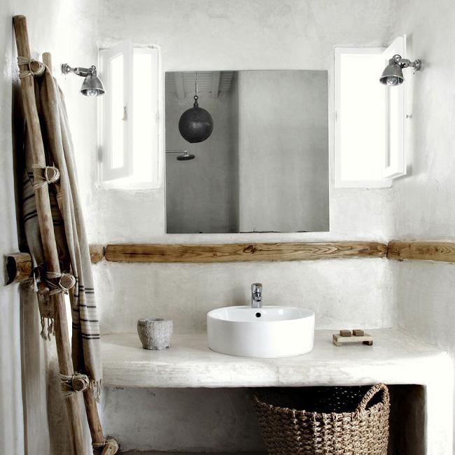 deco salle de bain bois blanc bohème rustique