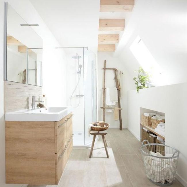 deco salle de bain bois blanc carrelage parquet