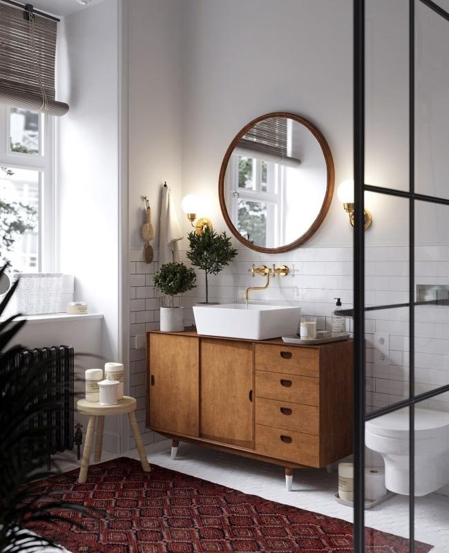 deco salle de bain bois blanc industriel vintage