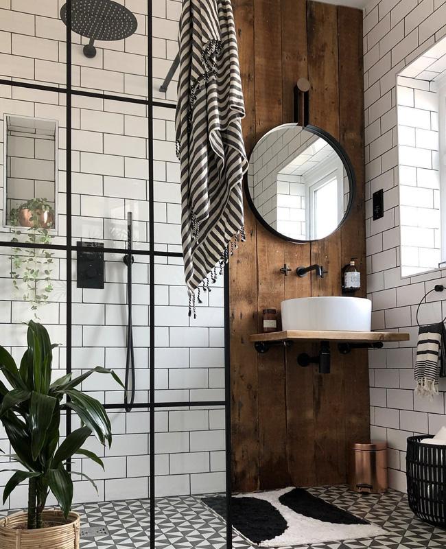 deco salle de bain industrielle bois blanc
