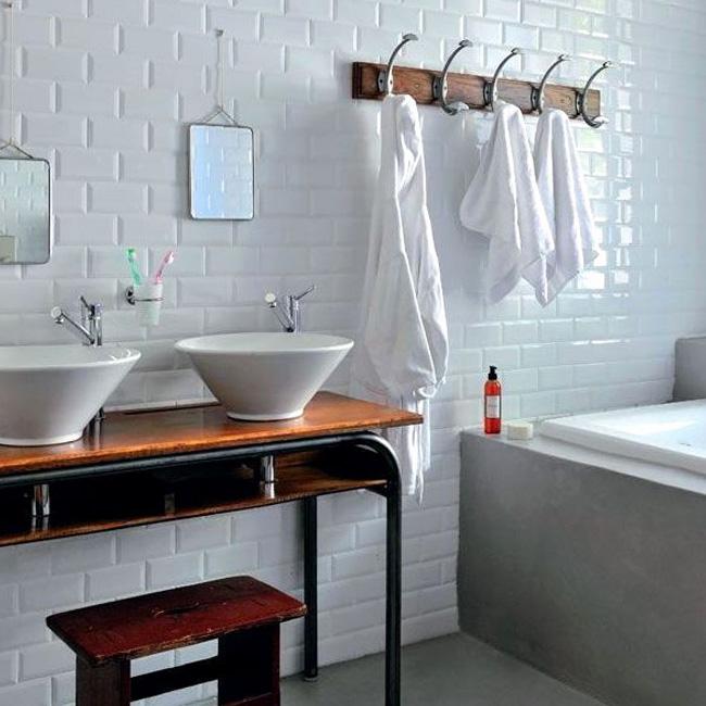 deco salle de bain industrielle bureau écolier