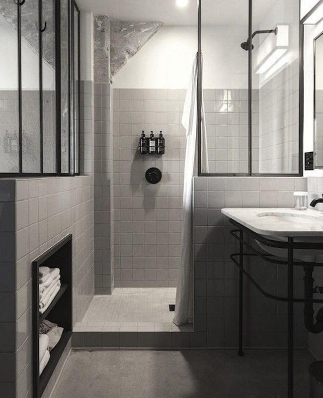 deco salle de bain industrielle grise