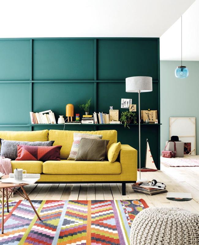 deco salon bleu canard jaune moderne