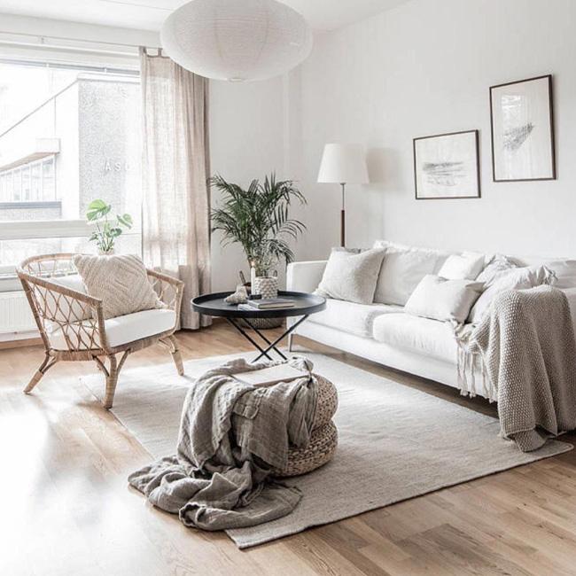 deco salon bois blanc minimaliste