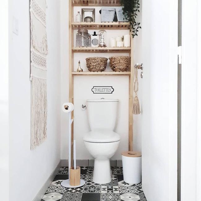 deco toilette wc noir bois bohème