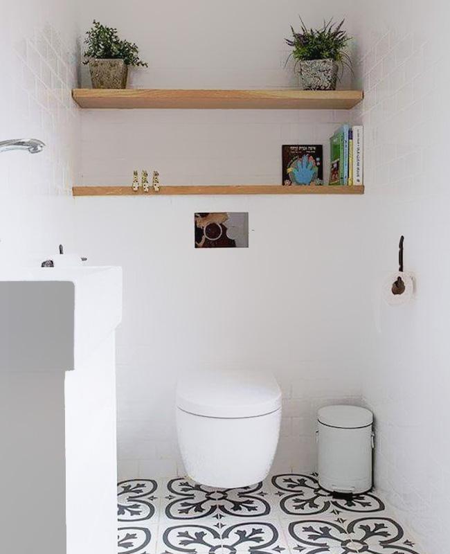 deco toilette wc noir bois lumineux