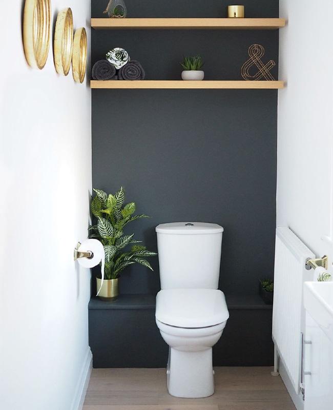deco toilette wc noir bois mur peint