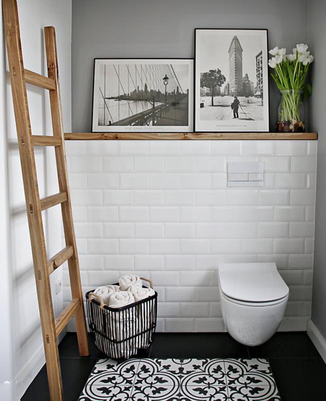 deco toilette wc noir bois vintage