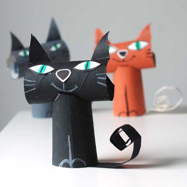 diy halloween chat noir rouleau papier toilette wc