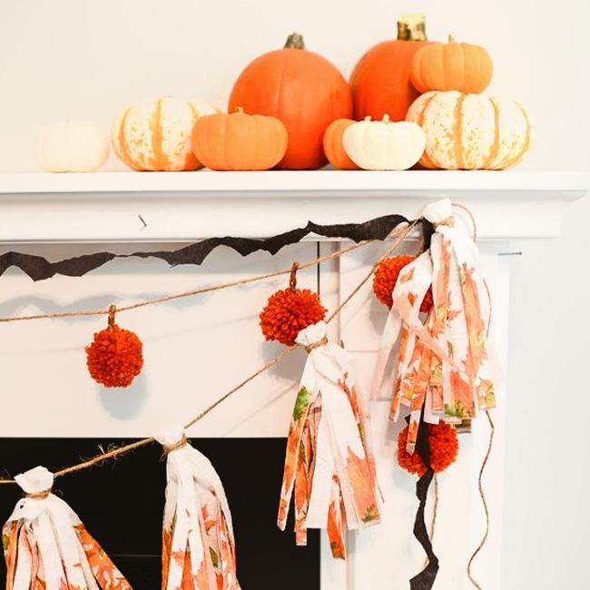 guirlande papier crépon diy halloween chauve souris facile