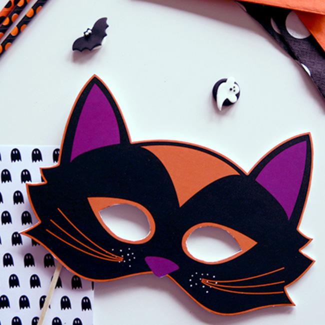 masque chat noir a imprimer halloween