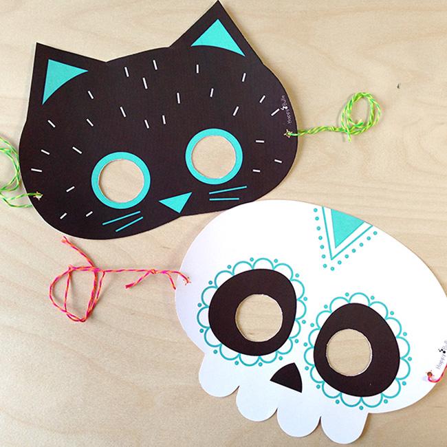 masque chat noir squelette a imprimer halloween