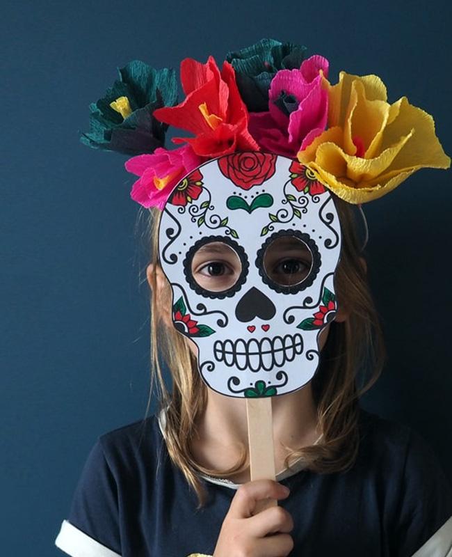 masque squelette mexicain a imprimer halloween