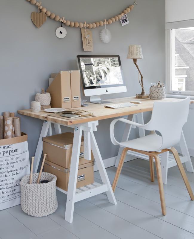 deco bureau scandinave pinterest bois blanc gris parquet