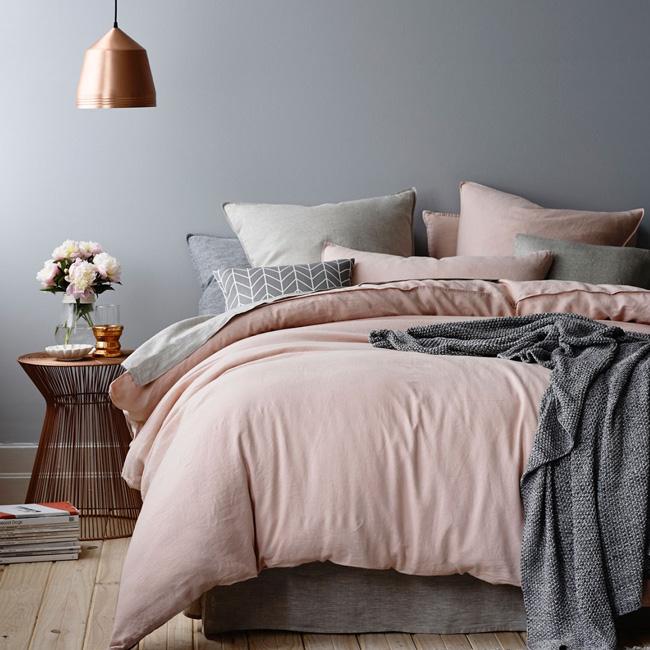 deco chambre adulte gris rose mur