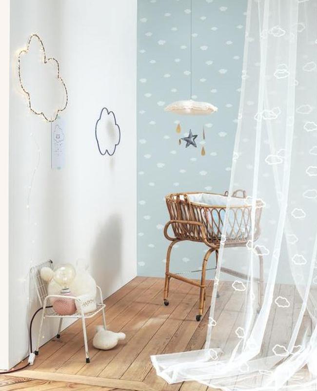 deco chambre bébé garçon nuage motif mur