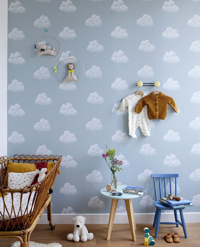 deco chambre bébé garçon nuage papier peint rotin