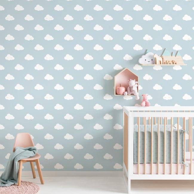 deco chambre bébé garçon nuage papier peint