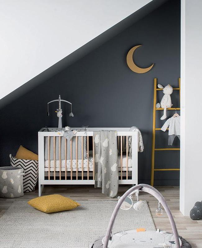 deco chambre bébé jaune moutarde gris