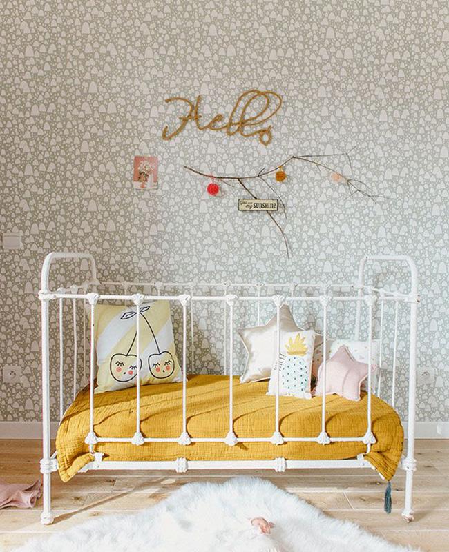 deco chambre bébé jaune moutarde vintage