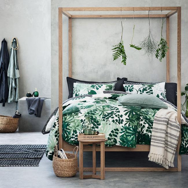 deco chambre bois nature tropicale