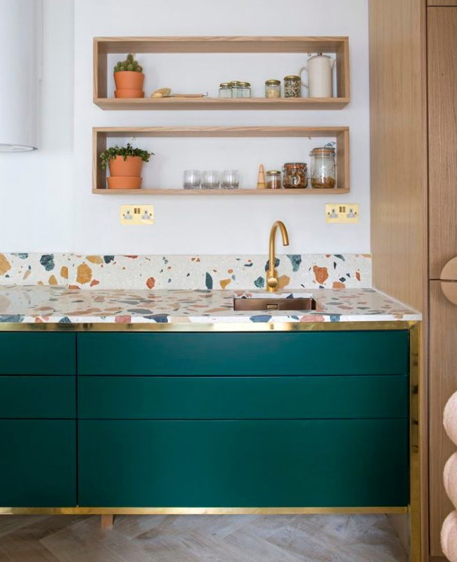 deco cuisine vert canard terrazzo laiton