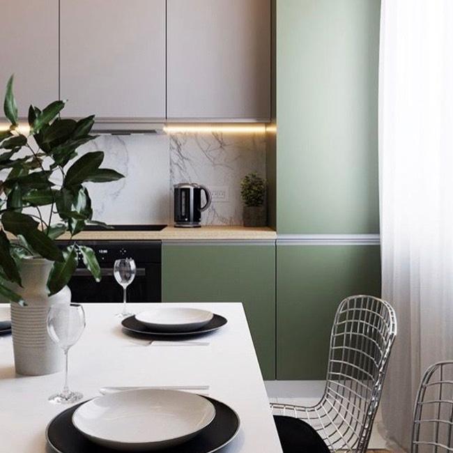 deco cuisine vert kaki blanc marbre moderne